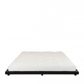 Dock - Ensemble lit en bois noir 180x200cm et futon épaisseur 15cm