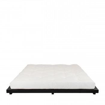 Dock - Ensemble lit en bois noir 180x200cm et futon en latex épaisseur 18cm