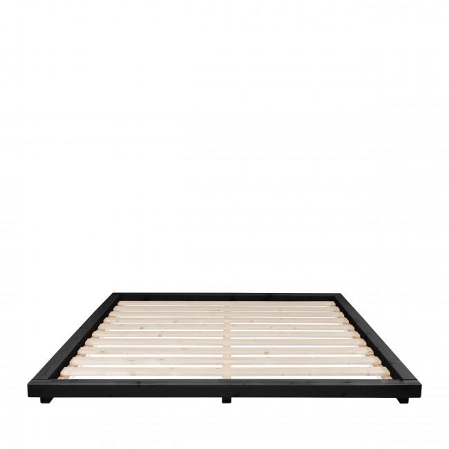 Dock - Ensemble lit en bois noir 160x200cm tatami et futon épaisseur 15cm