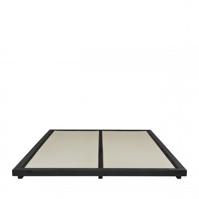 Dock - Ensemble lit en bois noir 160x200cm tatami et futon en latex épaisseur 18cm