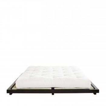Dock - Ensemble lit en bois noir 180x200cm tatami et futon en latex épaisseur 18cm