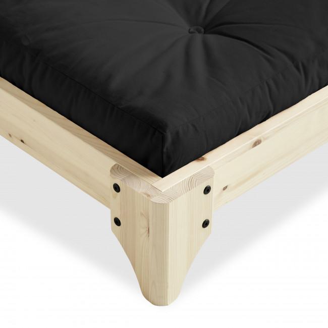 Elan - Ensemble lit en bois naturel 140x200cm et futon épaisseur 15cm