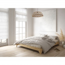 Elan - Ensemble lit en bois naturel 160x200cm et futon en latex épaisseur 18cm