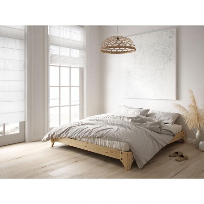 Elan - Ensemble lit en bois naturel 180x200cm et futon en latex épaisseur 18cm
