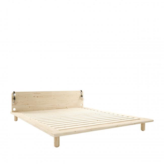 Peek - Ensemble lit en bois naturel avec lampes de chevets 160x200cm et futon épaisseur 15cm
