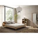 Peek - Ensemble lit en bois naturel avec lampes de chevets 160x200cm et futon en latex épaisseur 18cm