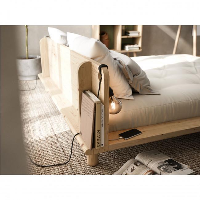 Peek - Ensemble lit en bois naturel avec lampes de chevets 180x200cm et futon épaisseur 15cm