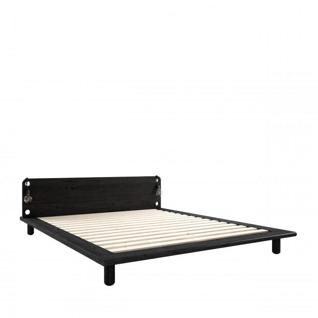 Peek - Ensemble lit en bois noir avec lampes de chevets 140x200cm et futon en latex épaisseur 18cm