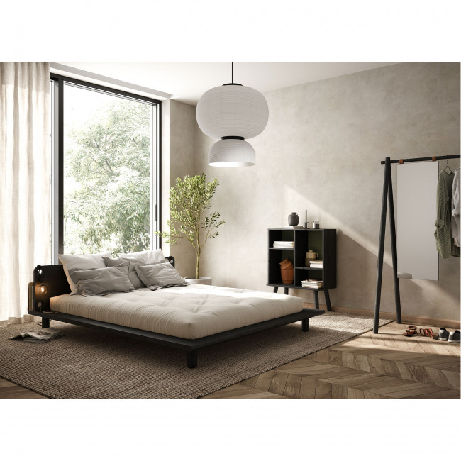 Peek - Ensemble lit en bois noir avec lampes de chevets 160x200cm et futon en latex épaisseur 18cm