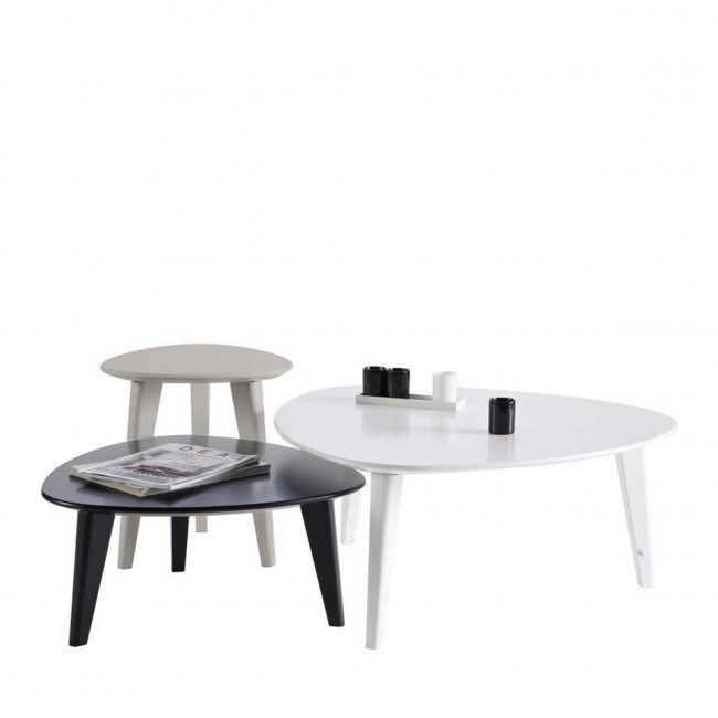Set de 3 tables basses design laquées Smooth