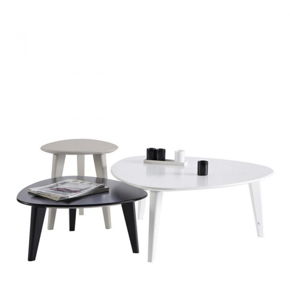 set de 3 tables basses laqu es smooth by drawer. Black Bedroom Furniture Sets. Home Design Ideas