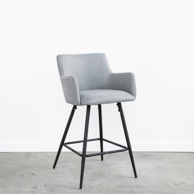 Trimont - 2 chaises de bar en métal et tissu