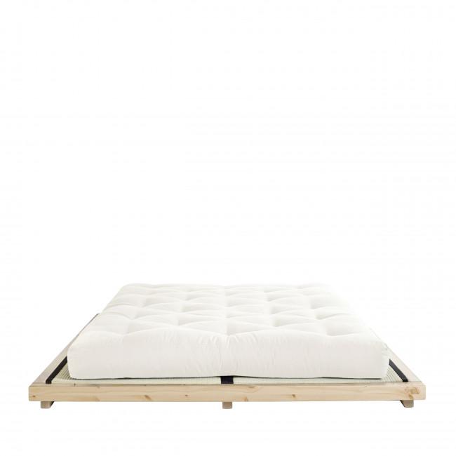 Dock - Ensemble lit en bois naturel 180x200cm tatami et futon en latex épaisseur 18cm