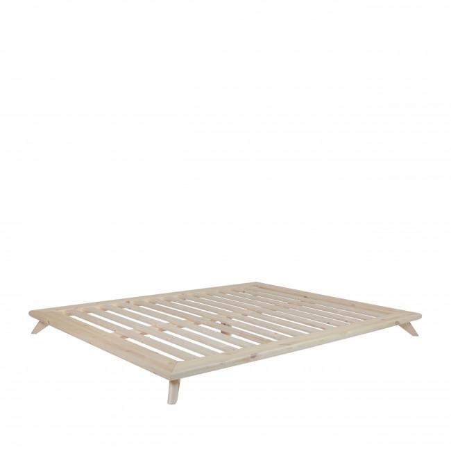 Senza - Ensemble lit en bois naturel 140x200cm et futon en latex épaisseur 18cm