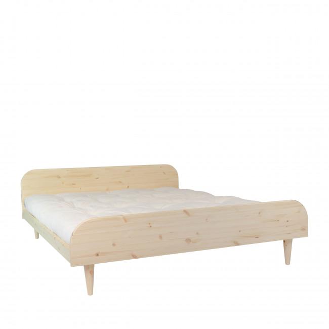 Twist - Ensemble lit en bois naturel 160x200cm et futon en latex épaisseur 18cm