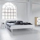 Twist - Ensemble lit en bois blanc 160x200cm et futon en latex épaisseur 18cm