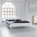 Twist - Ensemble lit en bois blanc 180x200cm et futon en latex épaisseur 18cm