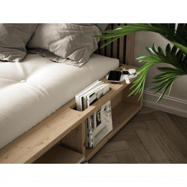 Ziggy - Ensemble lit en bois naturel 160x200cm et futon épaisseur 15cm