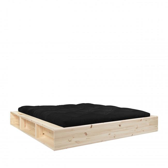 Ziggy - Ensemble lit en bois naturel 160x200cm et futon en latex épaisseur 18cm
