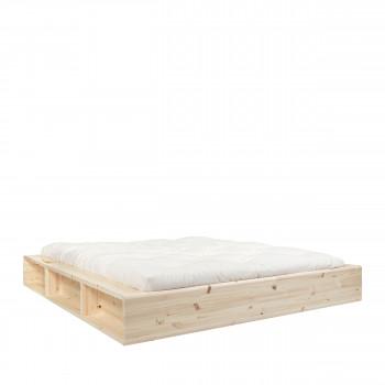 Ziggy - Ensemble lit en bois naturel 180x200cm et futon en latex épaisseur 18cm