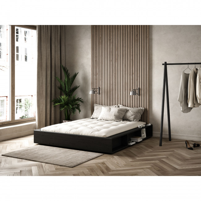 Ziggy - Ensemble lit en bois noir 140x200cm et futon épaisseur 15cm