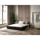 Ziggy - Ensemble lit en bois noir 140x200cm et futon en latex épaisseur 18cm