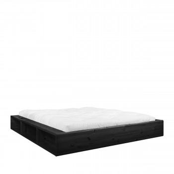 Ziggy - Ensemble lit en bois noir 160x200cm et futon en latex épaisseur 18cm