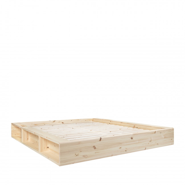 Ziggy - Ensemble lit en bois naturel 160x200cm tatami et futon en latex épaisseur 18cm
