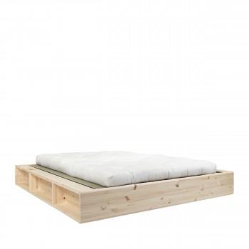 Ziggy - Ensemble lit en bois naturel 180x200cm tatami et futon en latex épaisseur 18cm