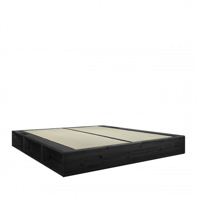 Ziggy - Ensemble lit en bois noir 180x200cm tatami et futon épaisseur 15cm