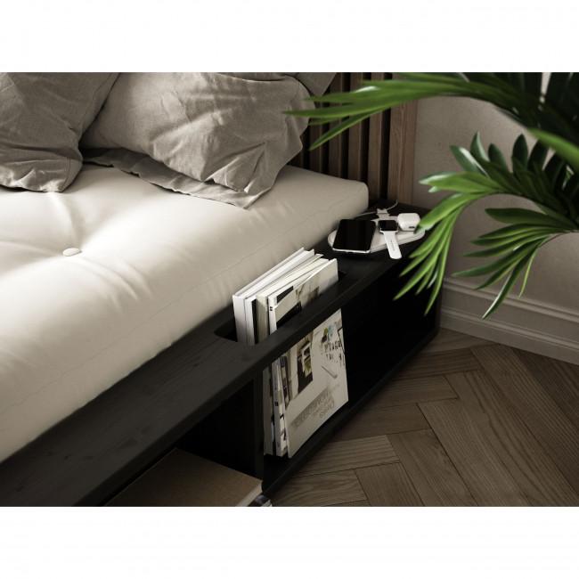 Ziggy - Ensemble lit en bois noir 180x200cm tatami et futon en latex épaisseur 18cm