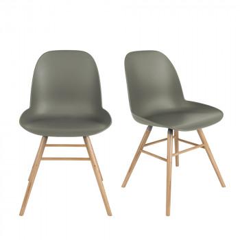 Lot de 2 chaises résine et bois Albert Kuip Zuiver