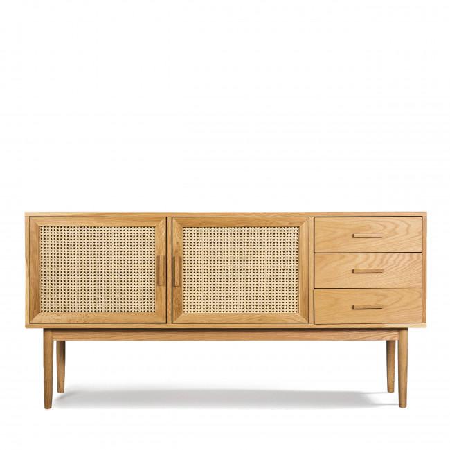Buffet design 2 portes 3 tiroirs bois et rotin Hogarn