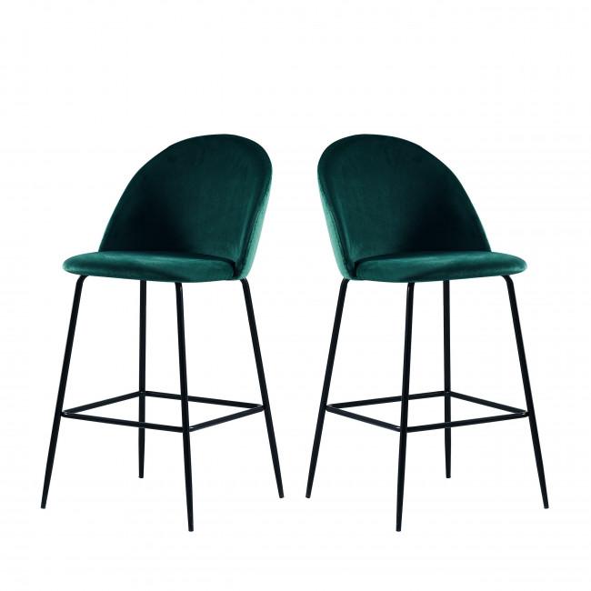 Vitikko - 2 fauteuils de bar 75cm en velours et pieds noirs