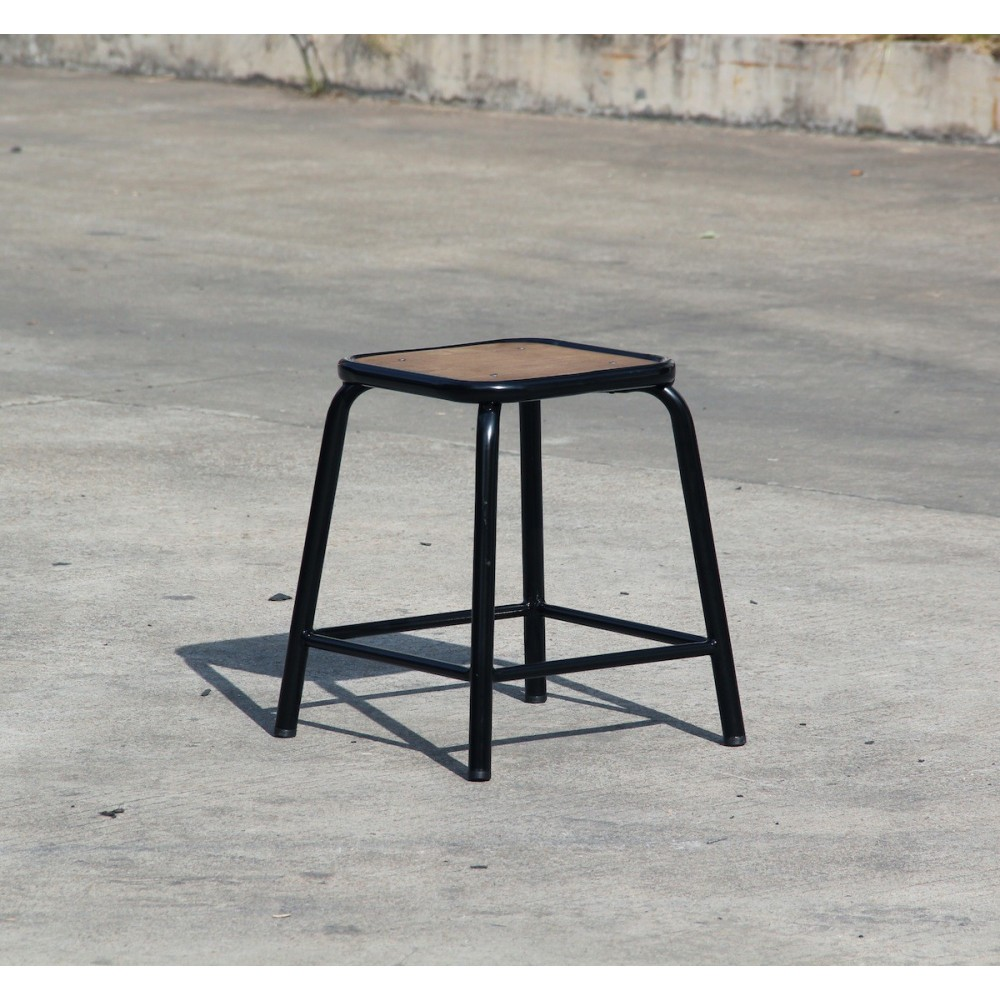tabouret 45 vintage m tal et bois style industriel maitresse x2. Black Bedroom Furniture Sets. Home Design Ideas