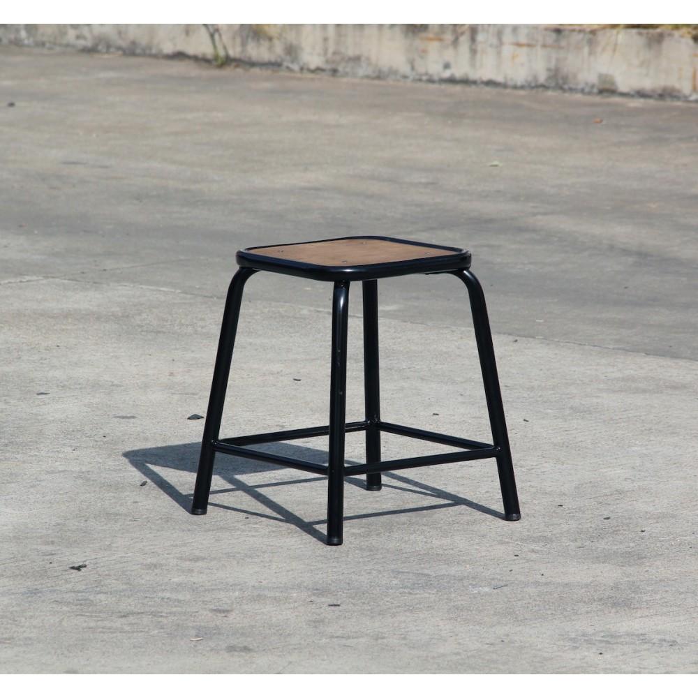 tabouret retro style industriel m tal et bois maitresse x2. Black Bedroom Furniture Sets. Home Design Ideas