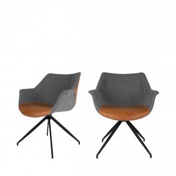 Doulton - 2 fauteuils de table en tissu et simili