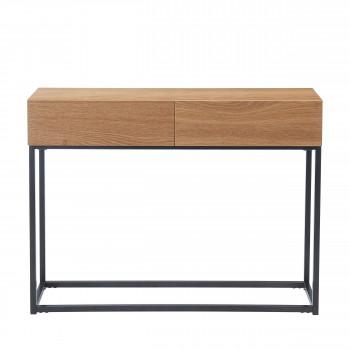 Ivica - Console 2 tiroirs en bois et métal