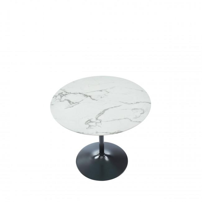 Kutky - Table de bistrot ronde en verre trempé et métal