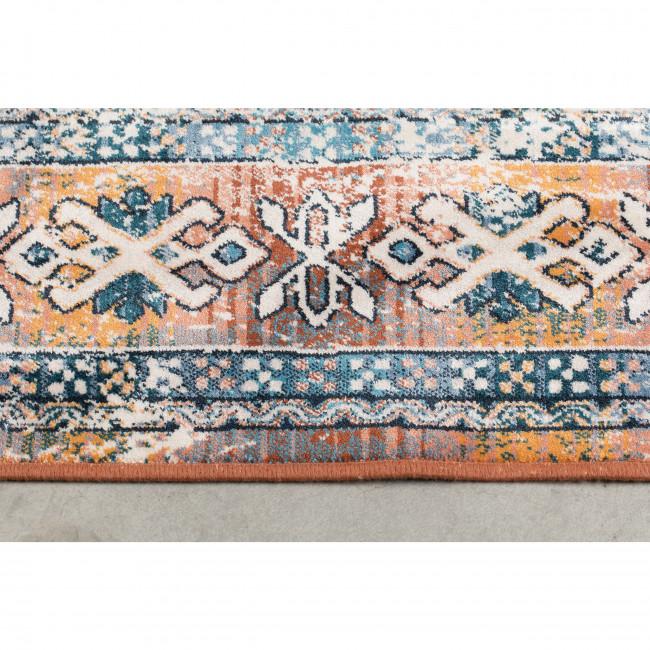 Mahal - Tapis vintage rouge brique et bleu