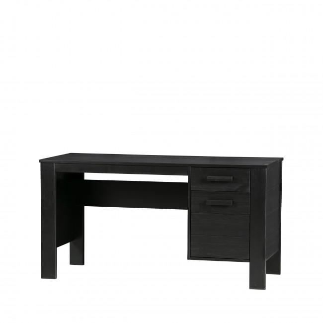 Table de bureau en pin brossé Dirk gris detail