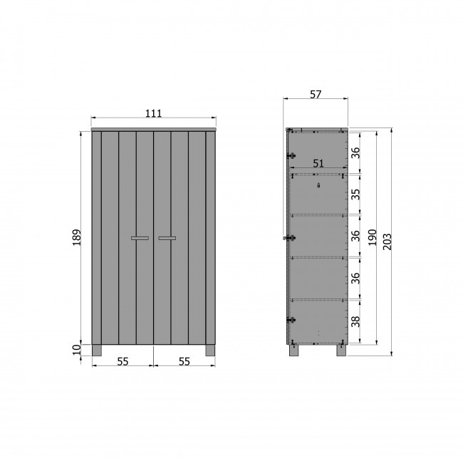 Armoire 2 portes en pin gris clair brossé Lowie