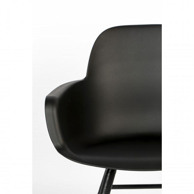 Albert Kuip - 2 fauteuils de table résine et bois pieds noirs