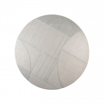 Bliss - Tapis design rond en tissu écru