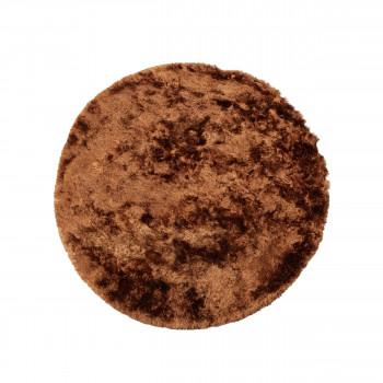 Praline - Tapis rond en tissu marron