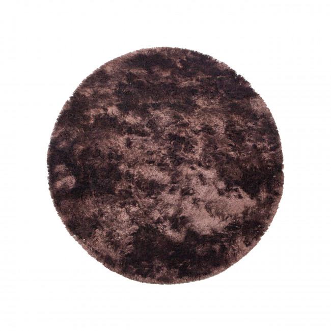 Praline - Tapis rond en tissu marron foncé
