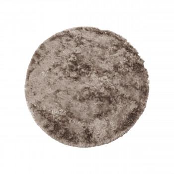 Praline - Tapis rond en tissu taupe
