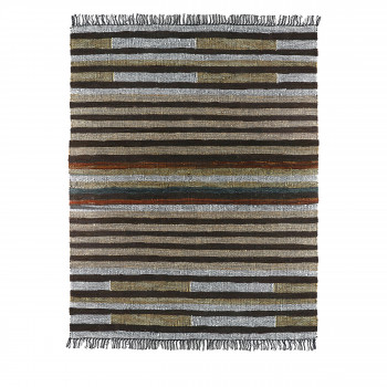 Lorenzo - Tapis à franges en tissu multicolore