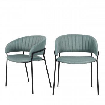 Binford - 2 chaises en tissu pieds noirs