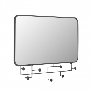 Vianela - Miroir rectangle avec crochets en métal